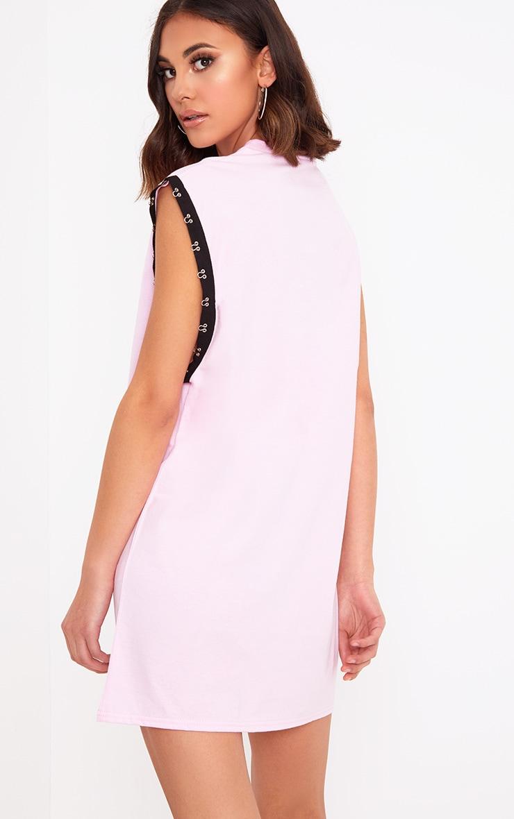 Baby Pink Miami Hook & Eye Printed T Shirt Dress 2
