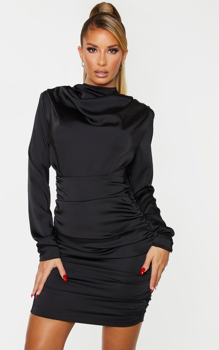 Black Ruched Detail Long Sleeve Bodycon Dress 1
