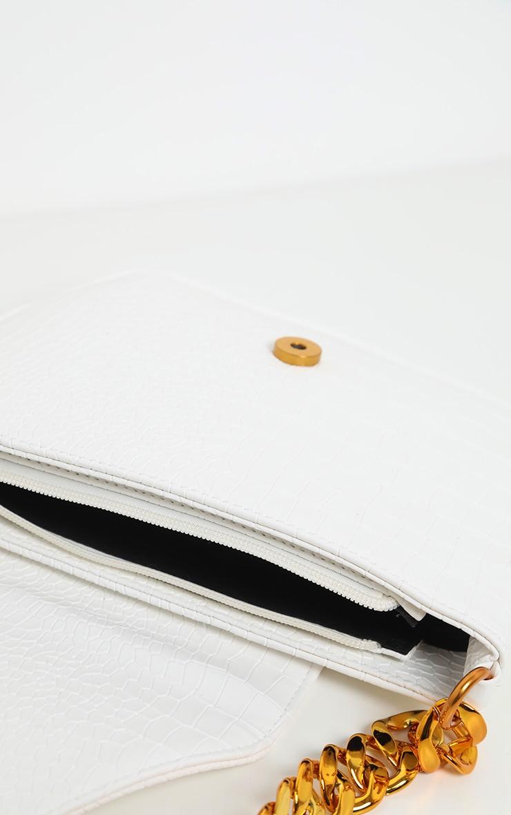 White Gold Chain Croc Mini Bag 3