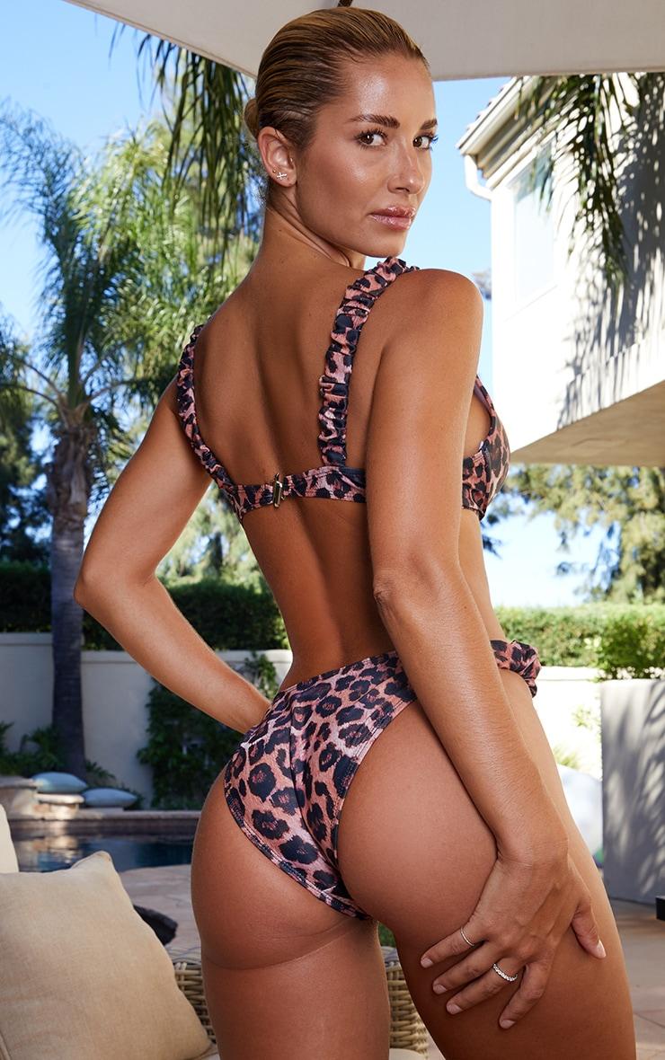 Leopard Cupped Ruched Strap Bikini Top 2