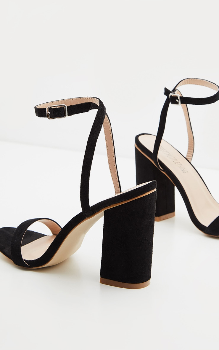 Black Ankle Strap Block Heel 3