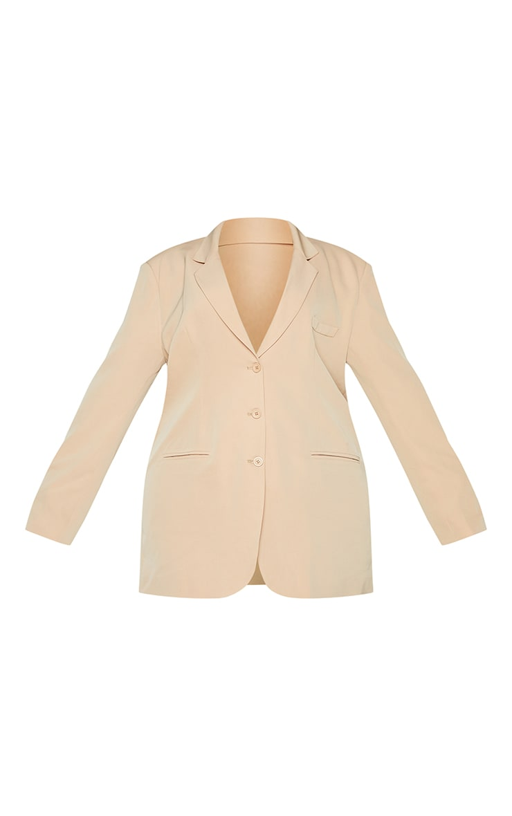 Plus Camel Woven Triple Button Shoulder Padded Oversized Blazer 5