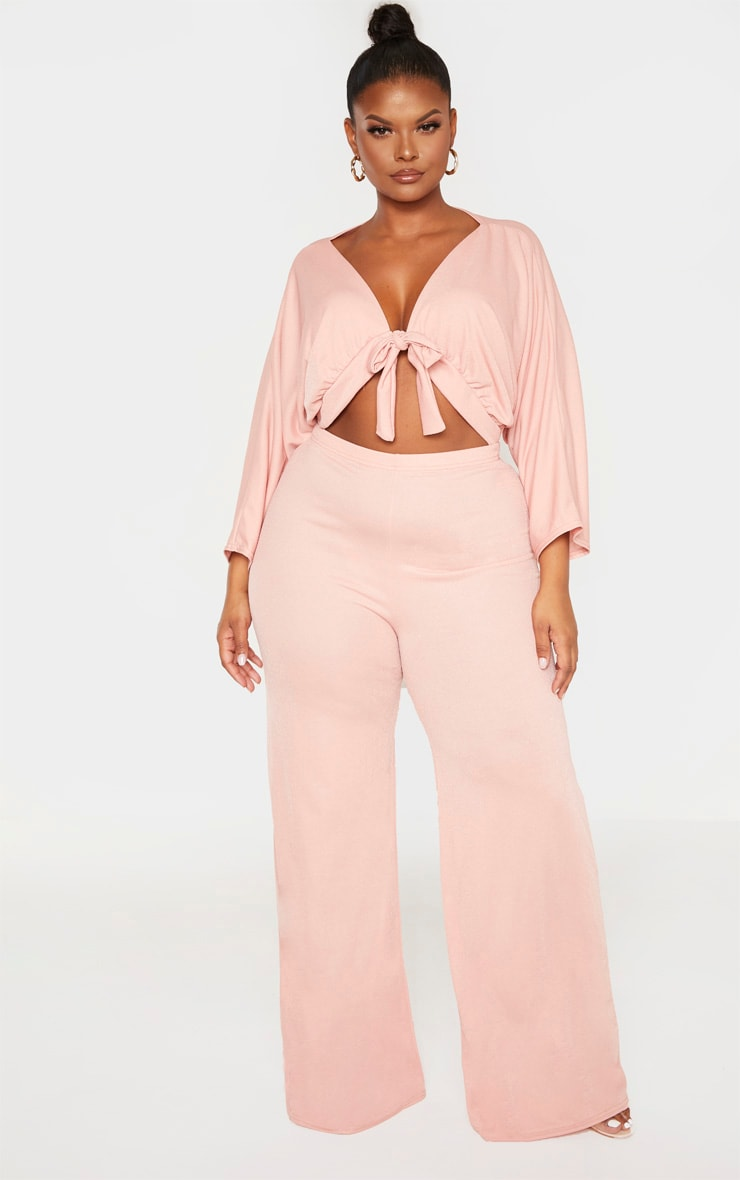 Plus Mauve Crepe Batwing Cut Out Jumpsuit 1