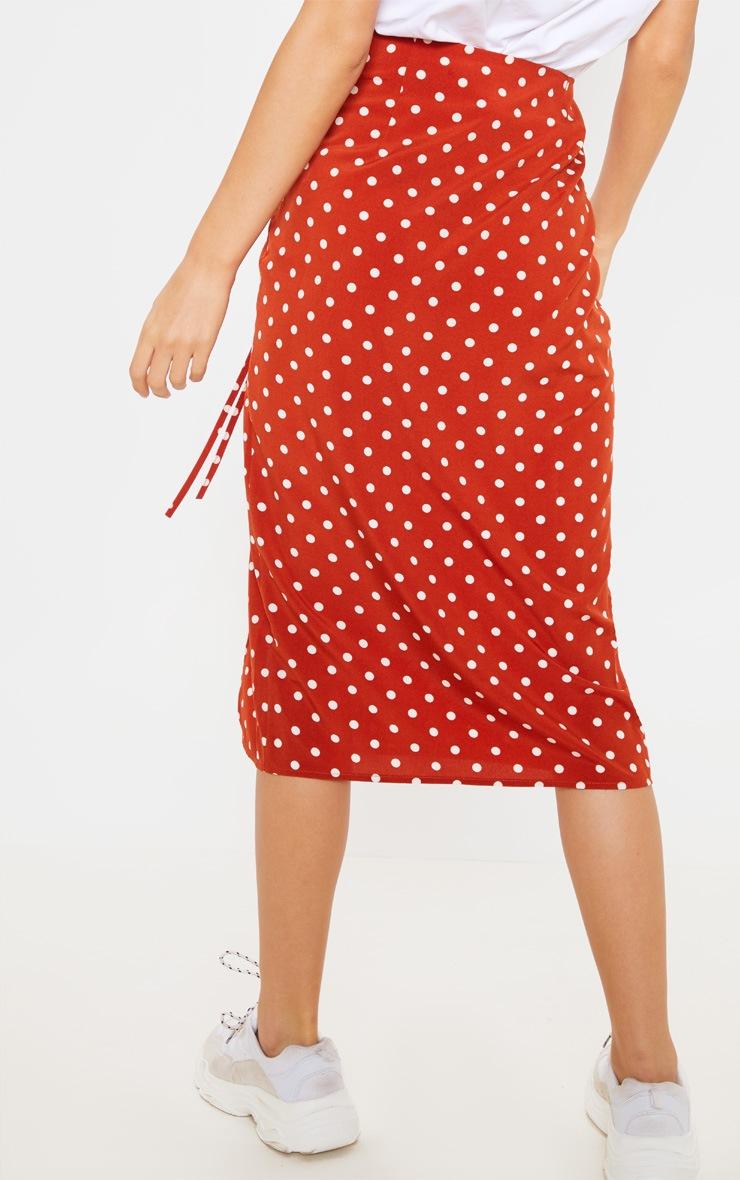 Rust Woven Large Polka Dot Split Side Midi Skirt 4