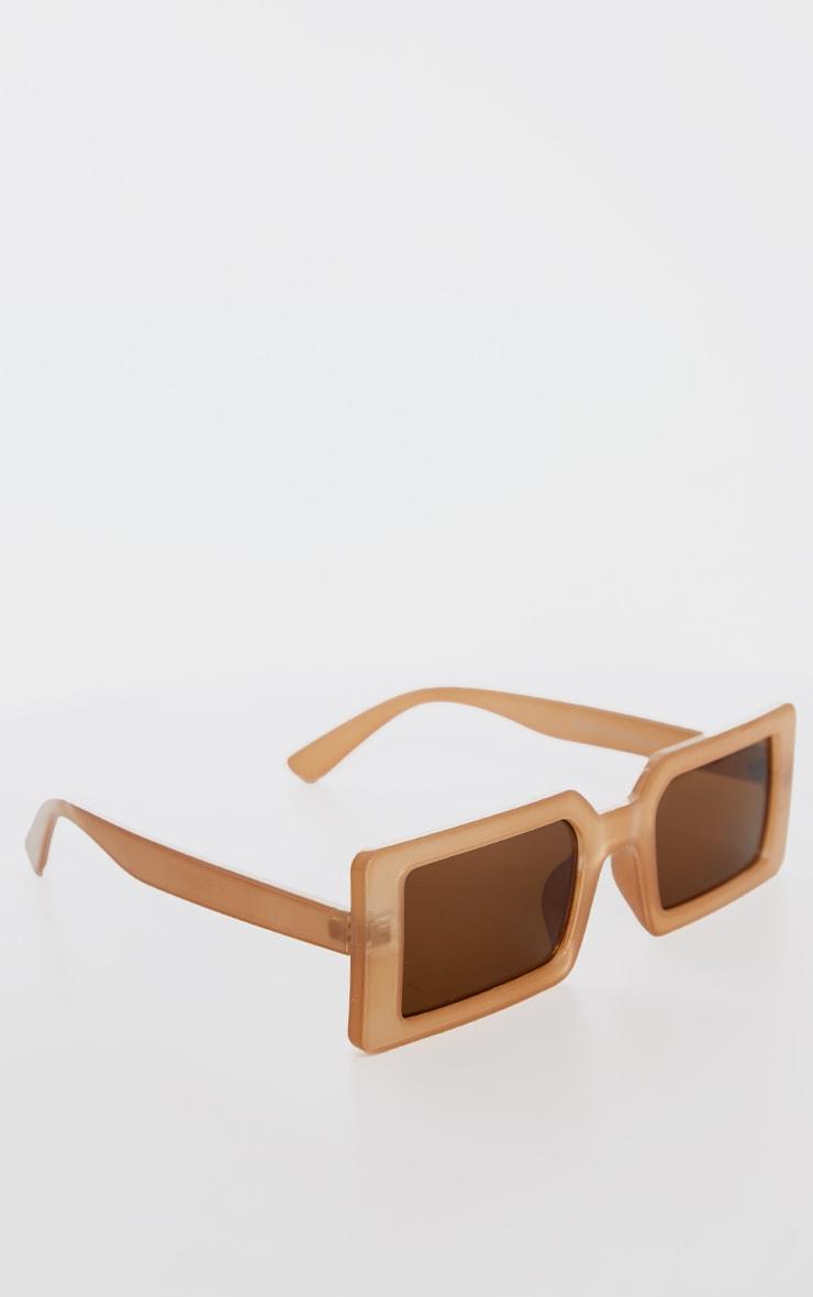 Taupe Square Frame Slimline Sunglasses 2