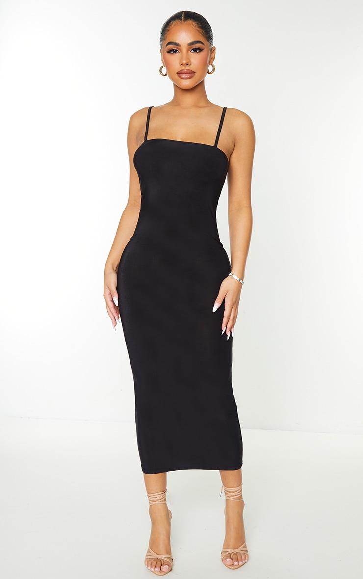 Petite Black Square Neck Strappy Slinky Midaxi Dress 1