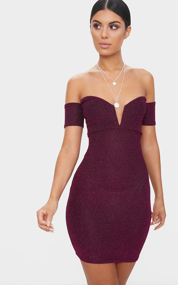 Fuchsia Glitter Bardot V Plunge Bodycon Dress  1