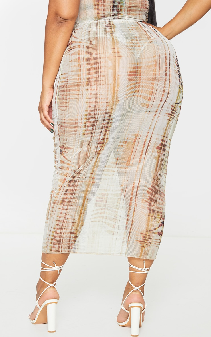 Plus Beige Textured Print Mesh Bodycon Midi Skirt 3
