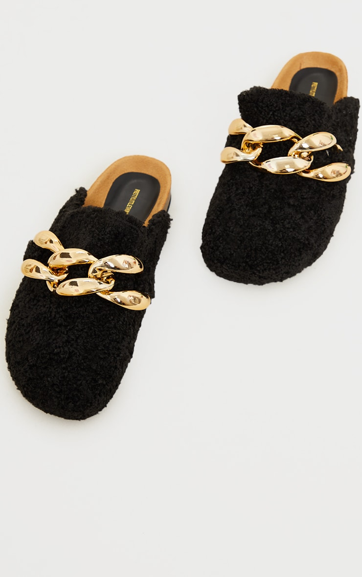 Black Faux Shearling Chunky Chain Mules 3