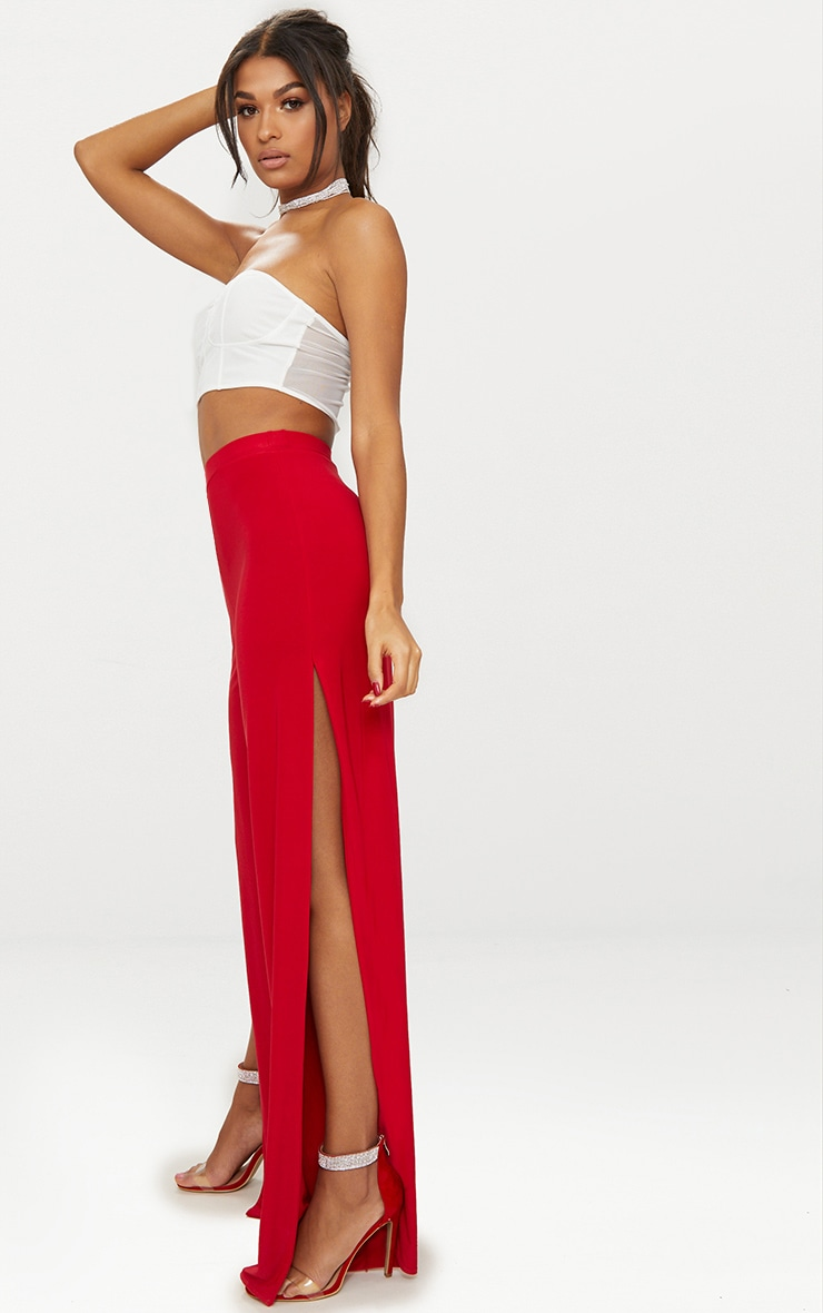 Red Split Leg Slinky Trousers 1