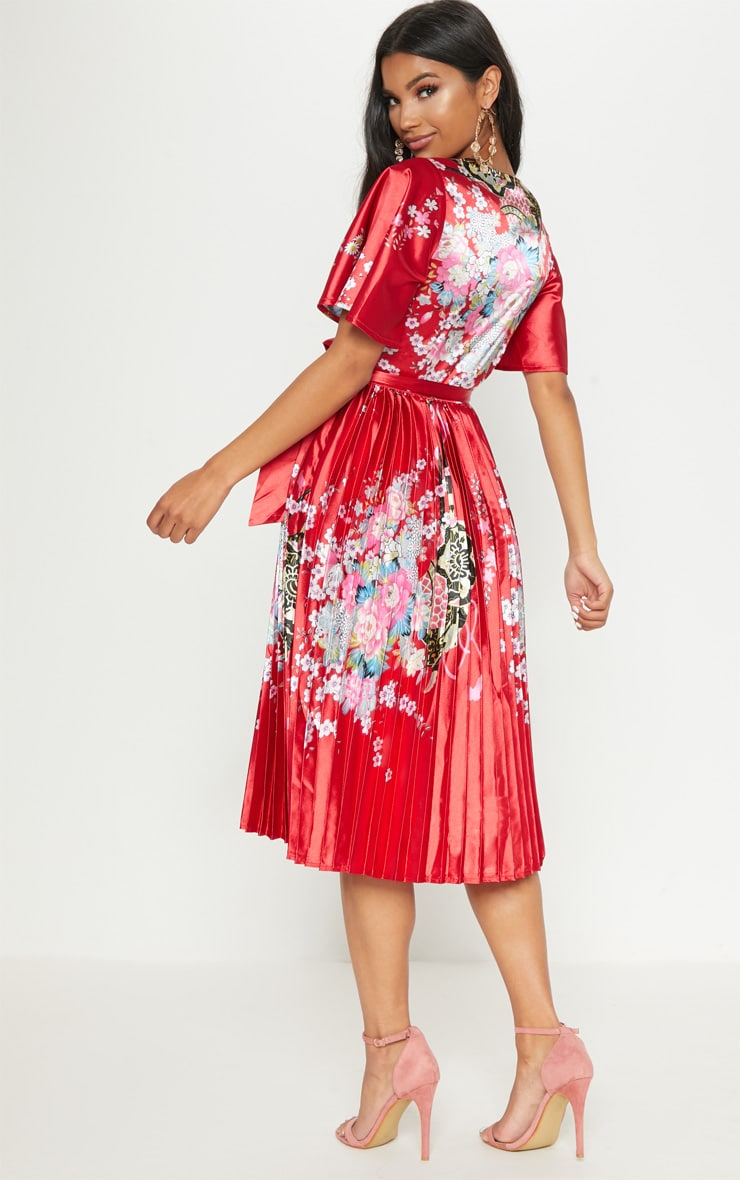 Red Floral Satin Pleated Midi Dress 2
