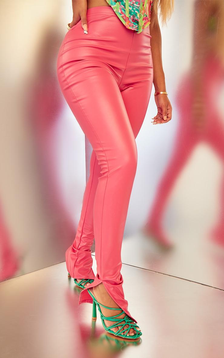 Shape Fuchsia PU Split Hem Trousers 2