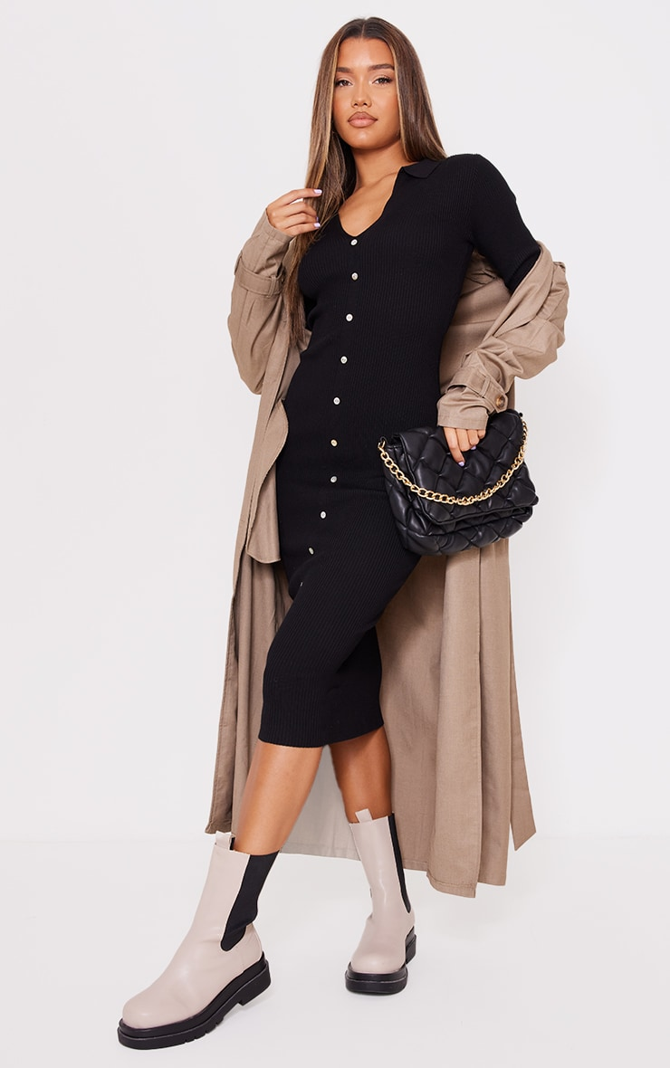 Black Button Down Collared Knitted Midi Dress 1
