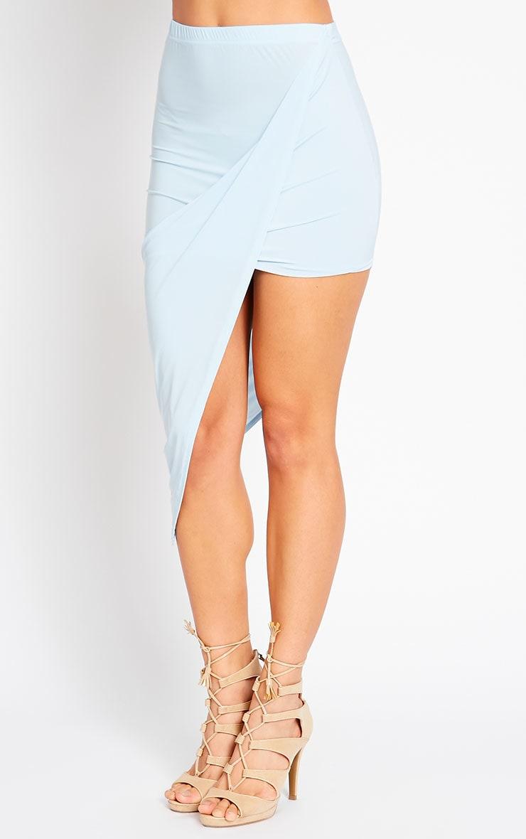 Alba Powder Blue Slinky Drape Skirt 3