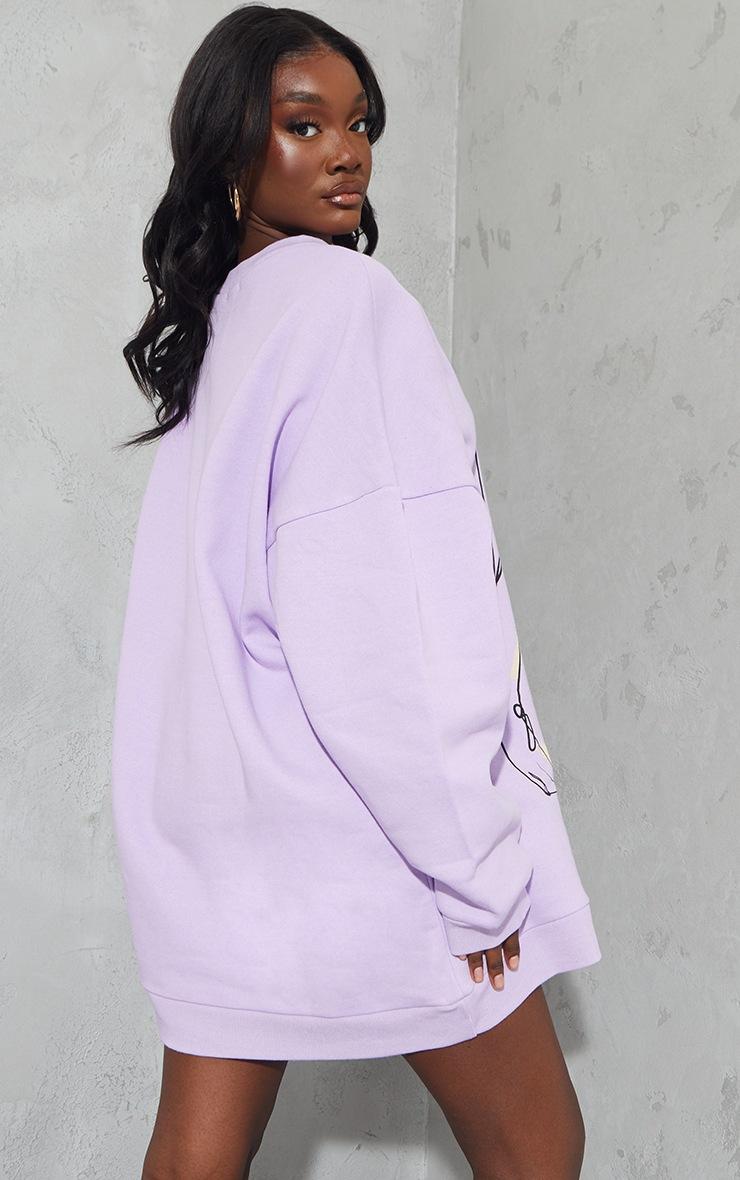 Tall - Robe pull oversize lilas à imprimé dessin 2