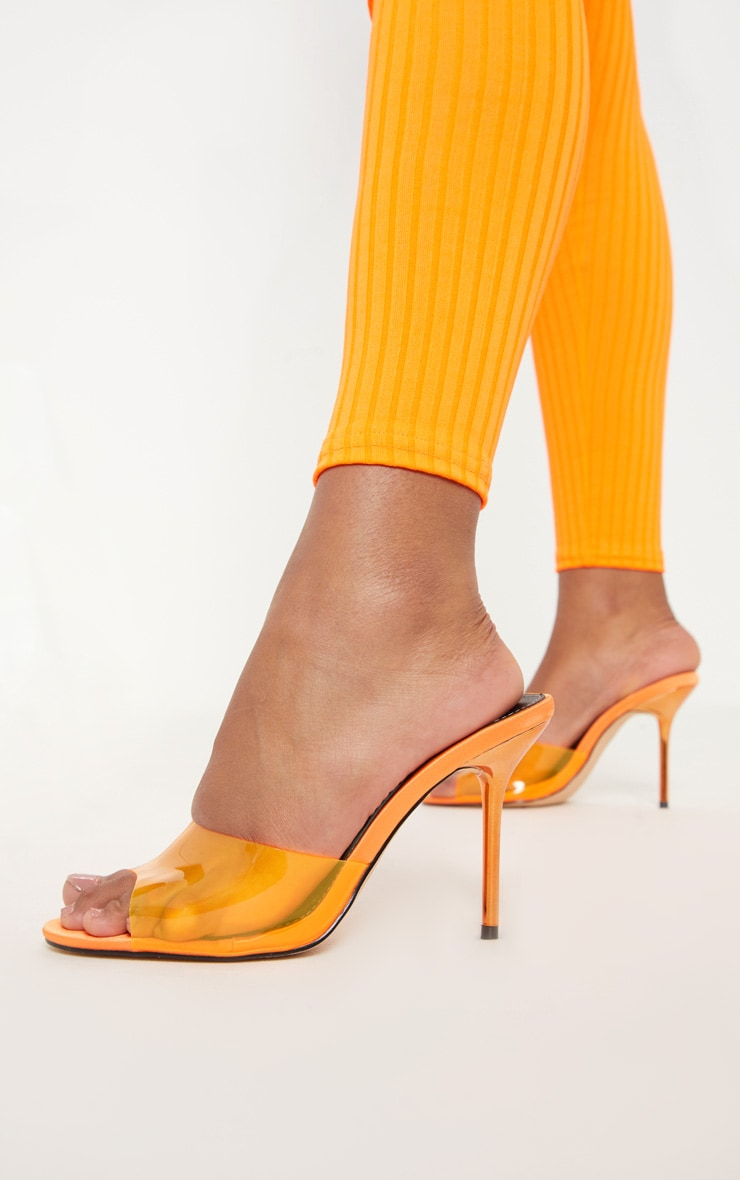 Orange Mid Heel Clear Mule