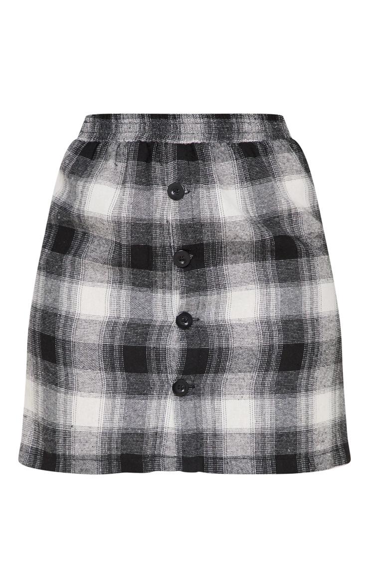 Black Check Button Front Mini Skirt 3