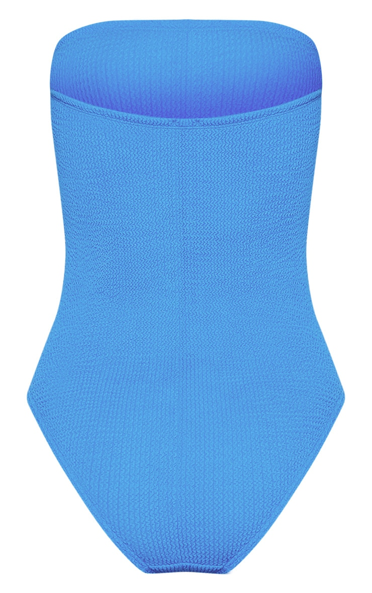 Blue Crinkle Strapless Swimsuit 6