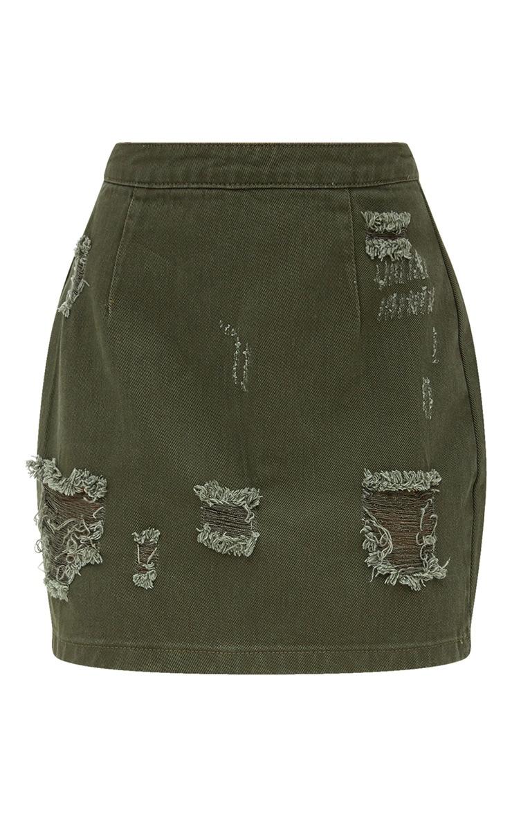 Khaki Distressed Rip Denim Mini Skirt 3
