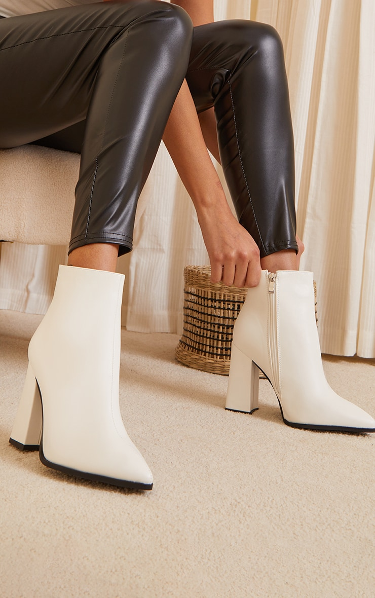 White Wide Fit Point Block Heel Ankle Boots 1