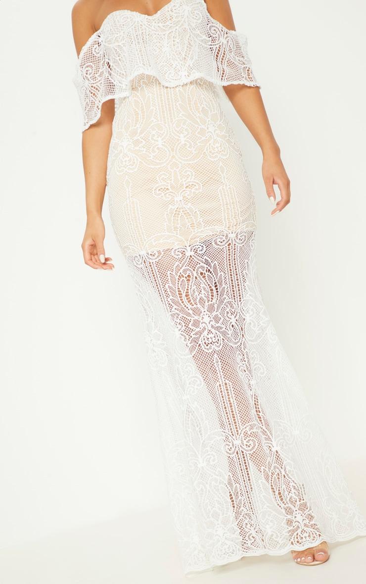 White Lace Bardot Fishtail Maxi Dress 5