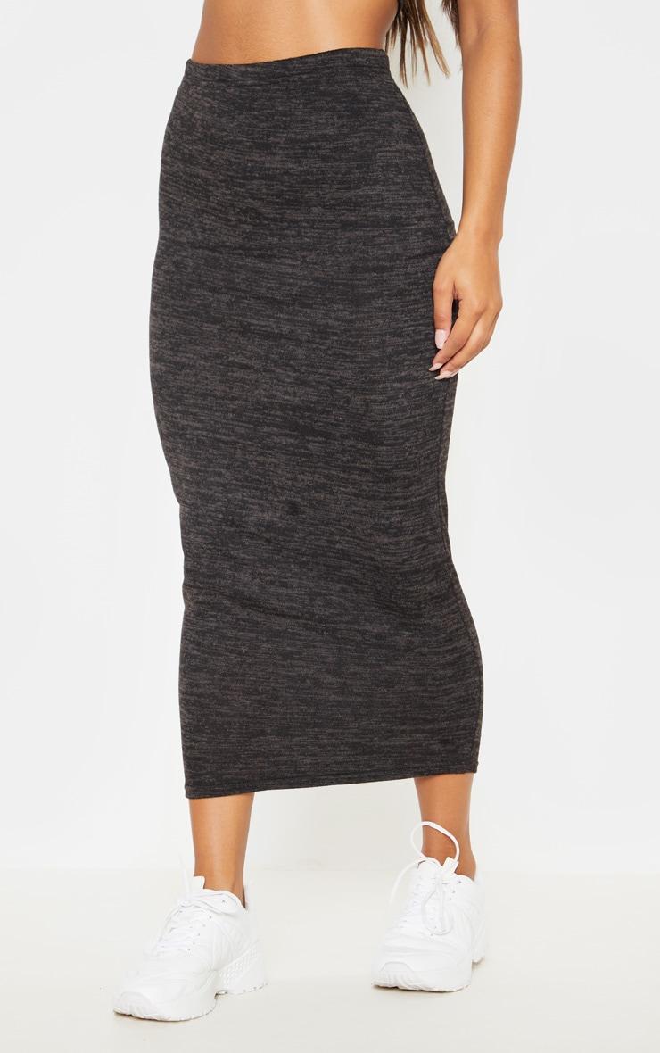 Black Lightweight Knit Maxi Skirt  2