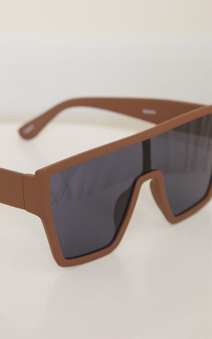 Chocolate Matte Oversized Square Frame Sunglasses 3