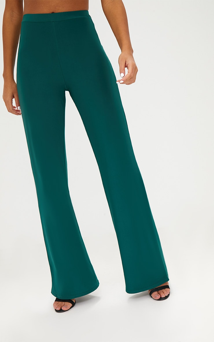 Forest Green Slinky Palazzo Trousers 5