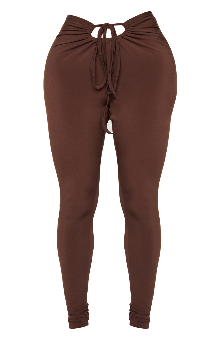 Shape Chocolate Brown Slinky Ruched Front Detail Leggings 5