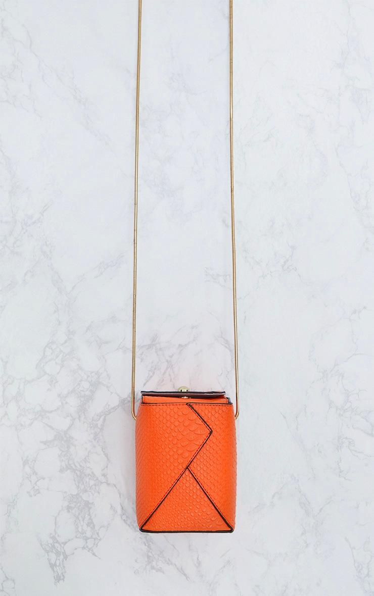 Orange Rectangle Textured Chain Body Bag 3