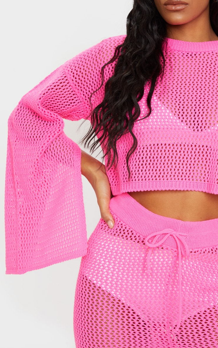 Pink Open Knitted Split Sleeve Set 4