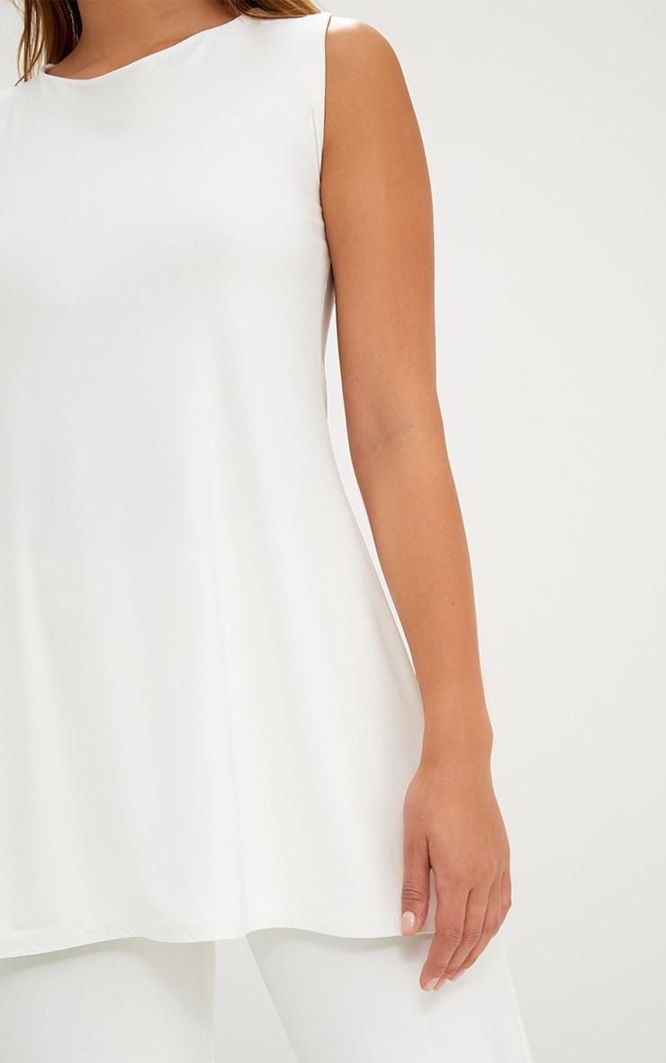 Cream Double Layer Slinky Longline Vest Top 5