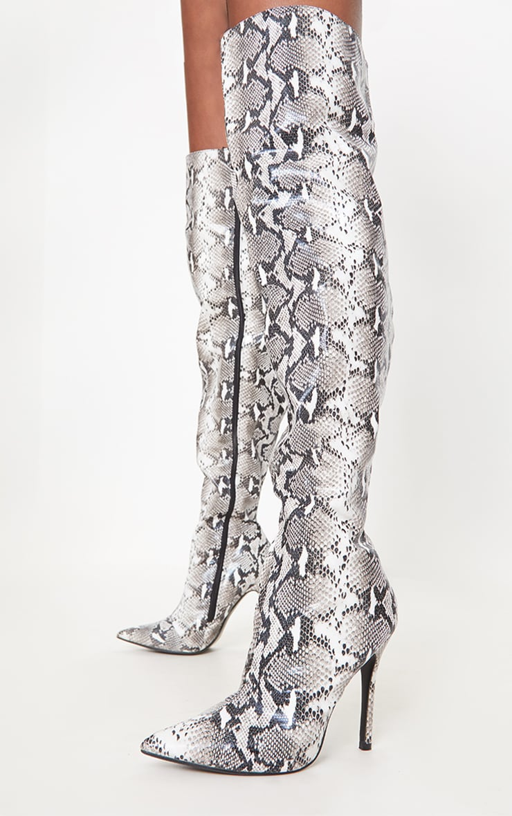 Grey Snake Pointed Over The Knee Boot 2