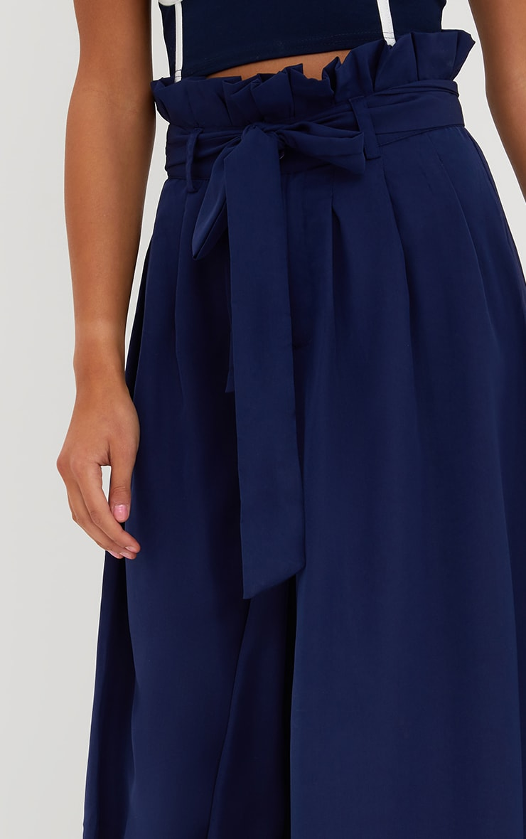Navy Wide Leg Paperbag Trousers 5