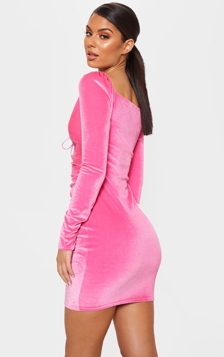 Neon Pink Square Neck Ruched Lace Up Velvet Bodycon Dress 2