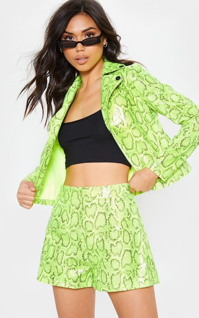 cd90b5e42533ac Neon Lime Faux Leather Snake Print High Waisted Short