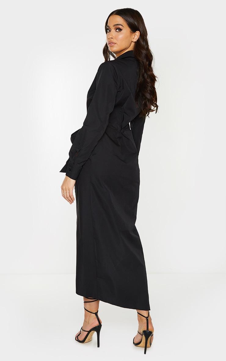 Black Long Sleeve Plunge Drape Detail Midi Shirt Dress 2