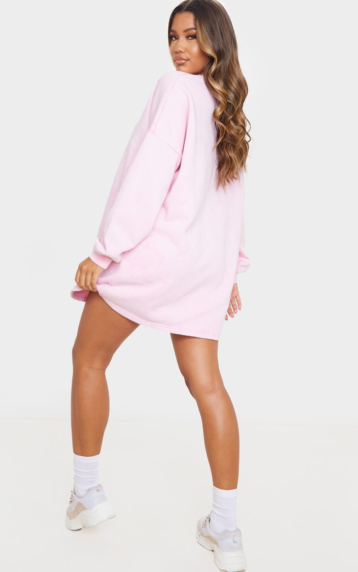 Pink Acid Wash Oversized Sweater Dress 2