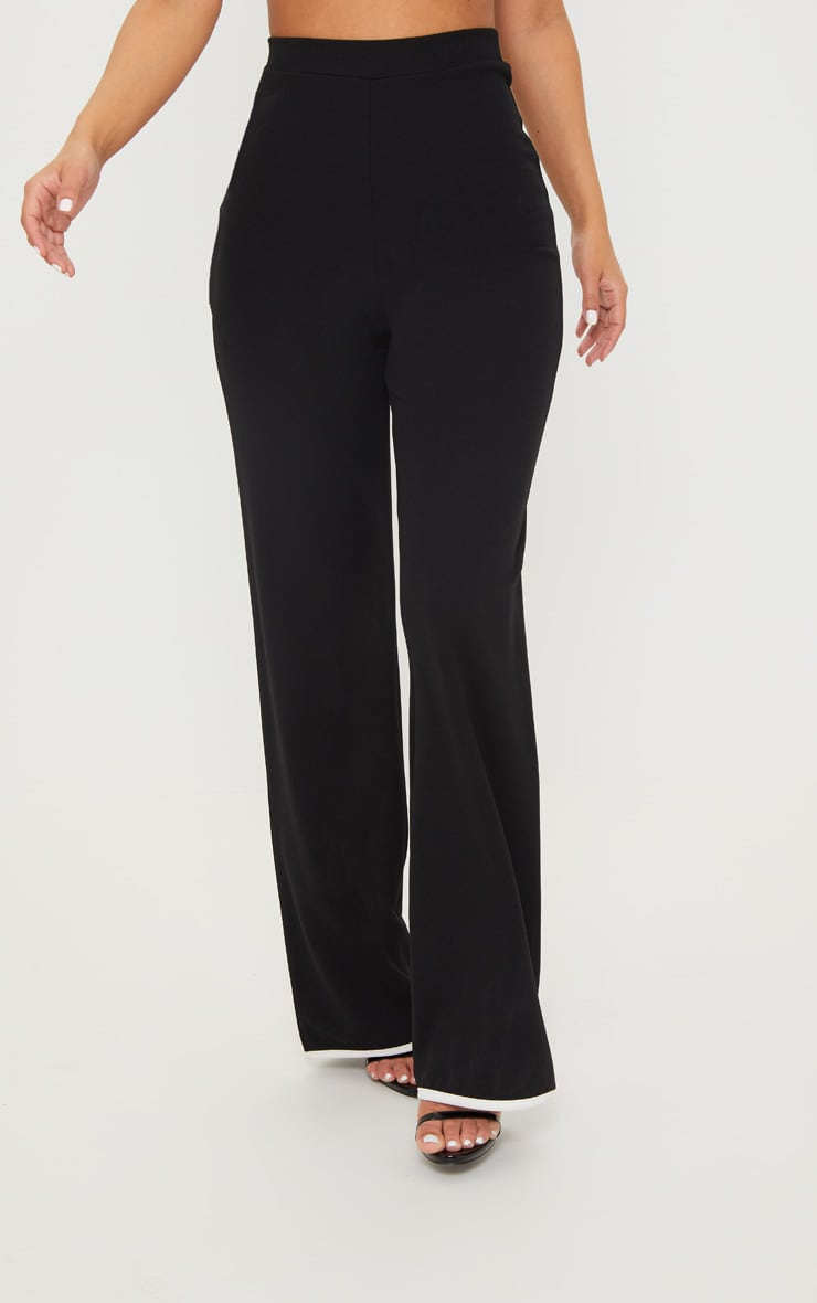 Petite Black Binding Detail Wide Leg Trouser 2