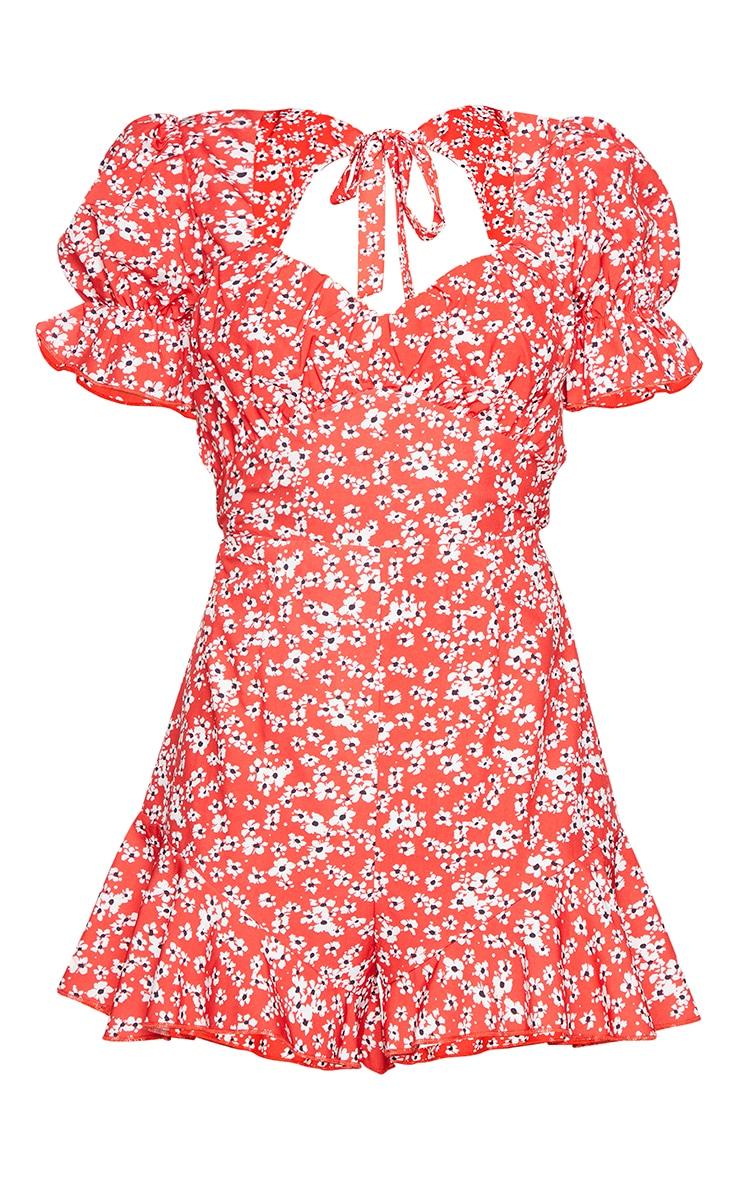 Combishort rouge imprimé fleuri noué au dos à manches bouffantes et buste froncé 5