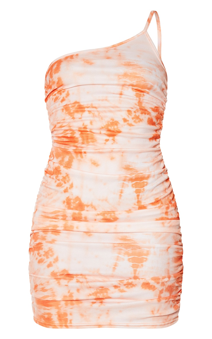 Orange Tie Dye Ribbed One Shoulder Ruched Bodycon Dress 5