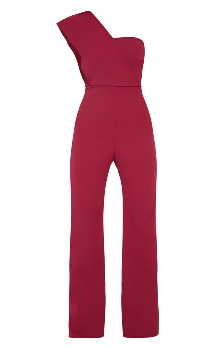 Petite Burgundy  Drape One Shoulder Jumpsuit 3
