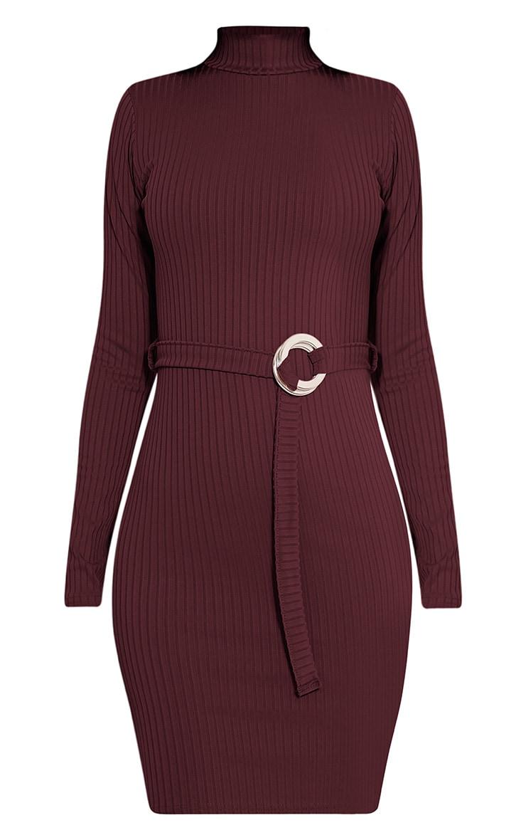 Mya Aubergine Belt Detail Ribbed Bodycon Dress 3