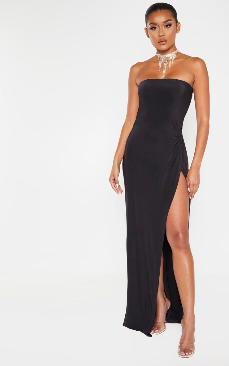 Black Bandeau High Slit Maxi Dress Dresses