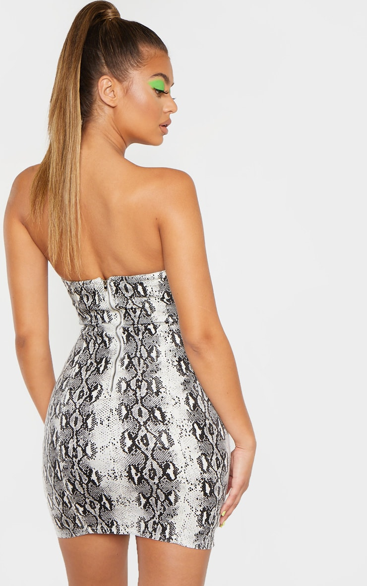 Snake Print Bandeau Denim Dress 2