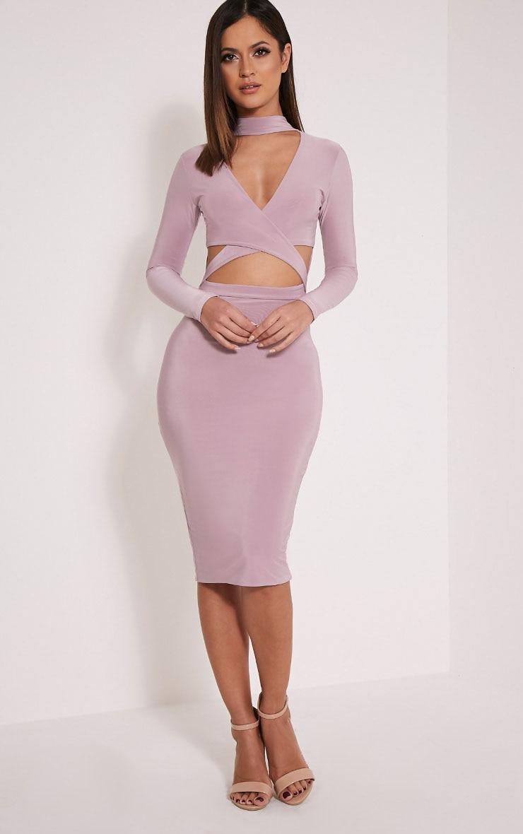 Nadeena Mauve Neck Detail Cut Out Midi Dress 1