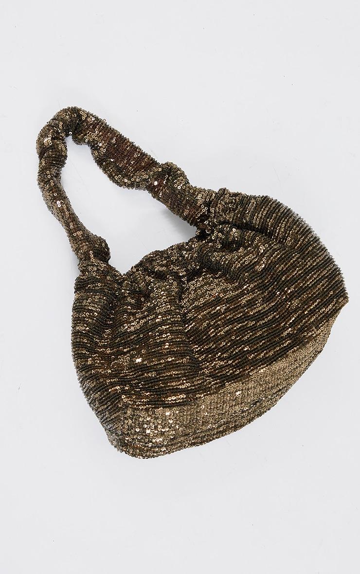 Gold Sequin Ruched Handle Bag 2