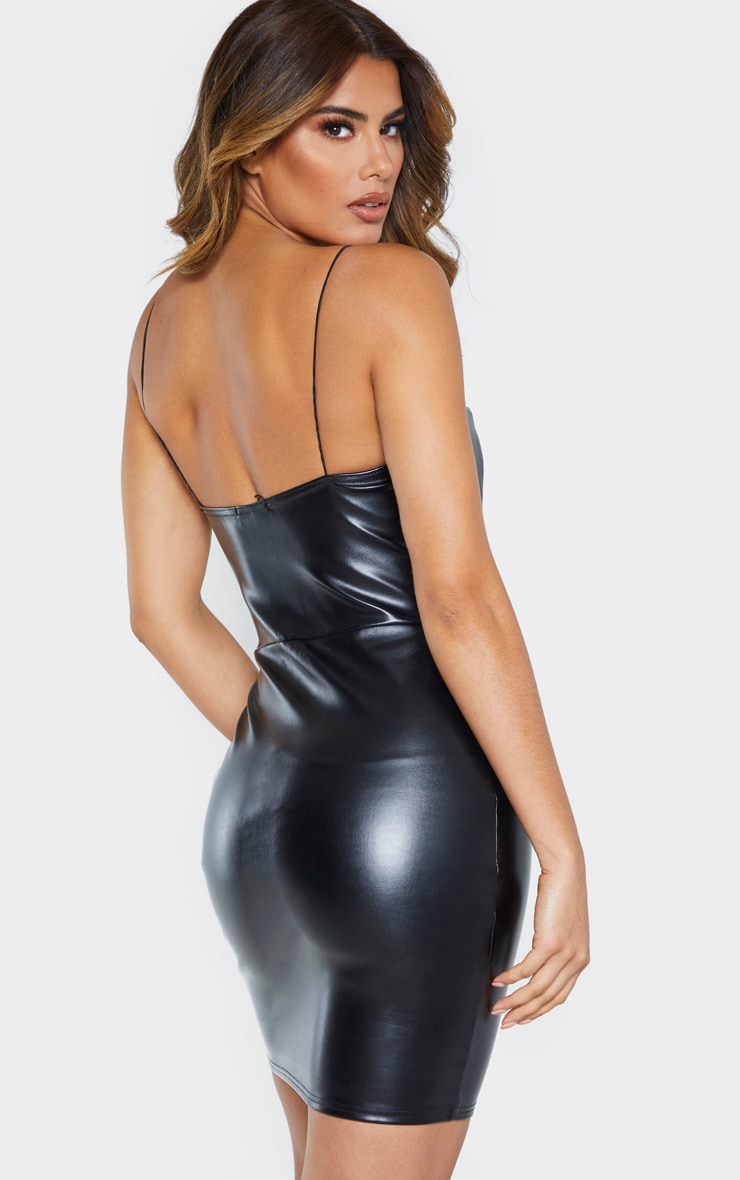 Tall Black Strappy Square Neck PU Mini Dress 2