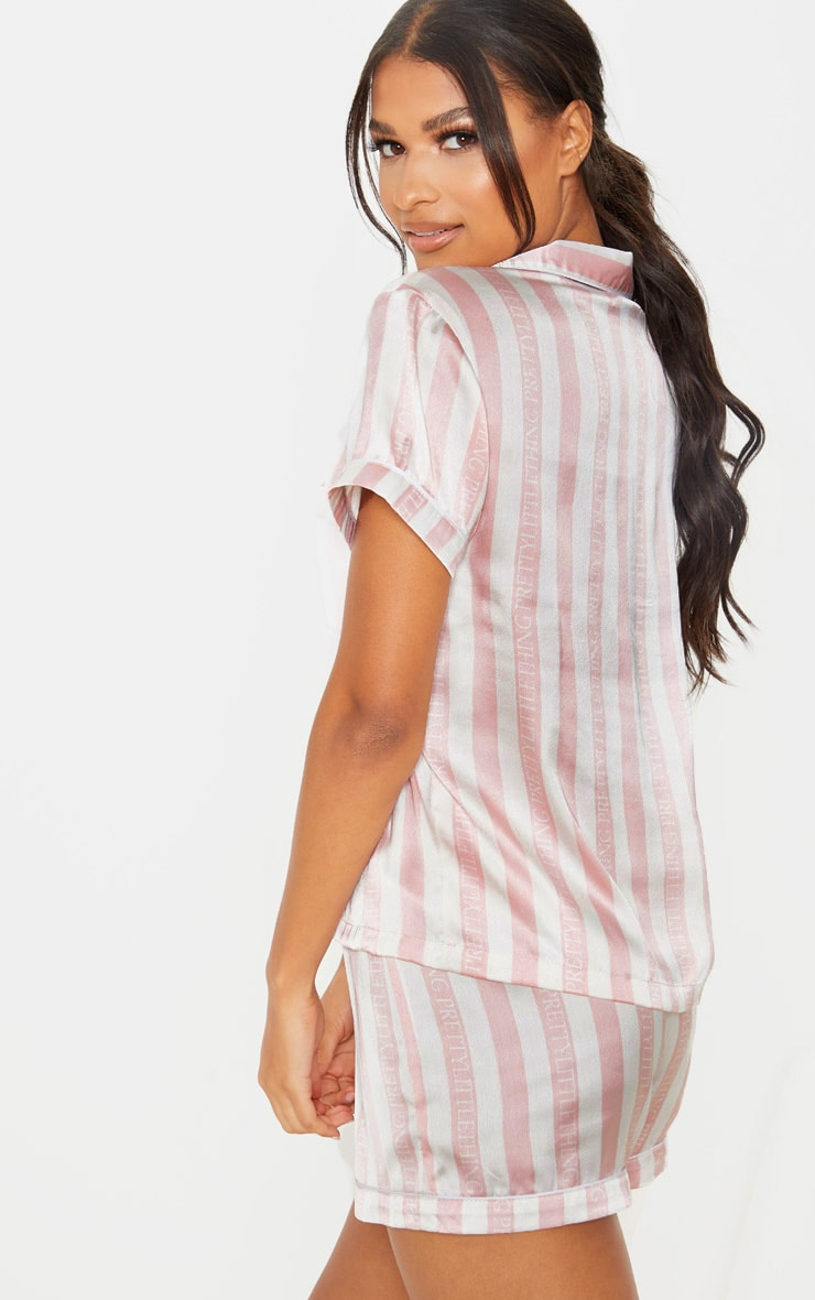 PRETTYLITTLETHING Baby Pink Striped Satin Pocket PJ Set 2