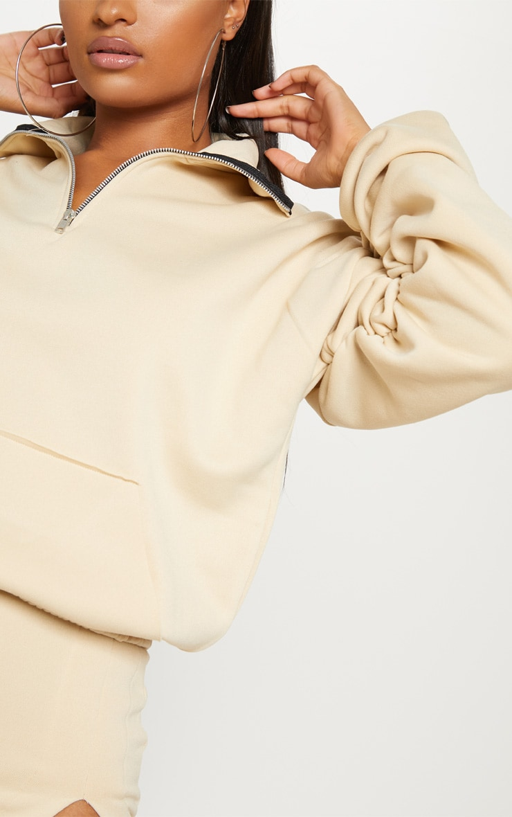 Cream Zip Oversized Ruched Sleeve Sweater 5
